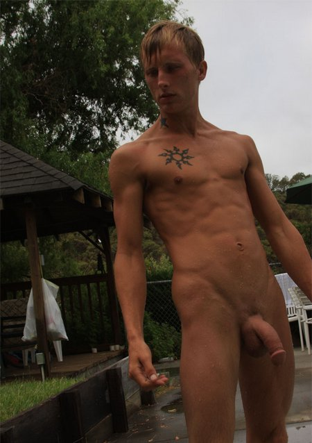 Skinny Guy Stroking Cock Masterbation